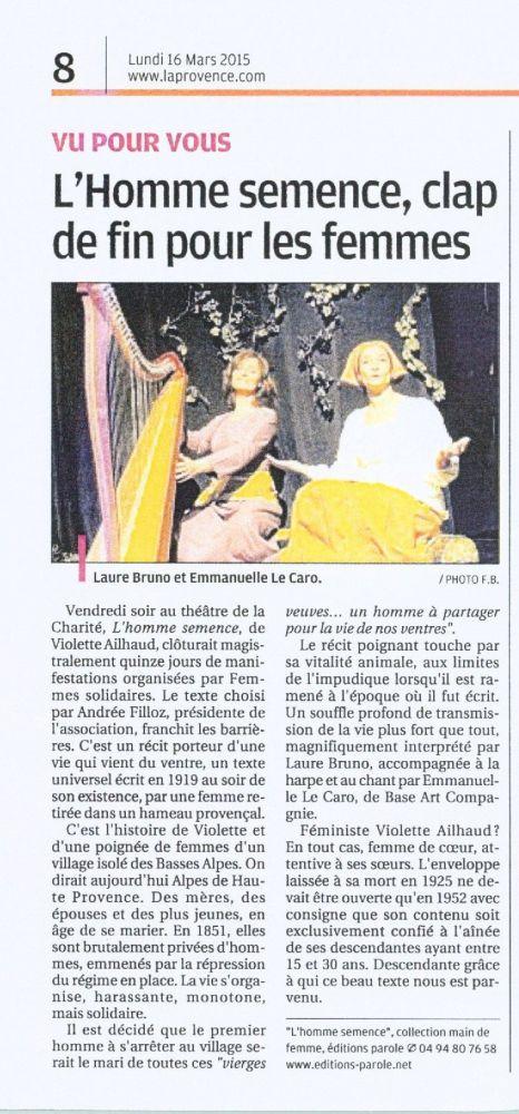 La Provence 160315 HommeSemenceLaCharité Carpentras
