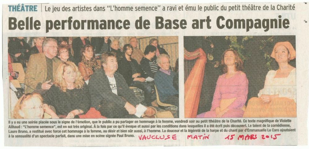 VaucluseMatin 130415 HommeSemenceLaCharité Carpentras